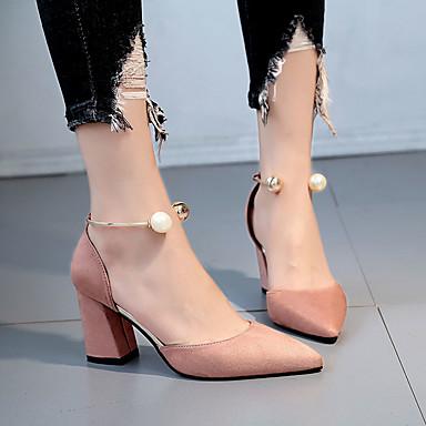 povoljno Ženske cipele-Žene Sandale Blok pete Okrugli Toe Kopča Guma Udobne cipele Hodanje Ljeto Bež / Burgundac / Dusty Rose / EU39