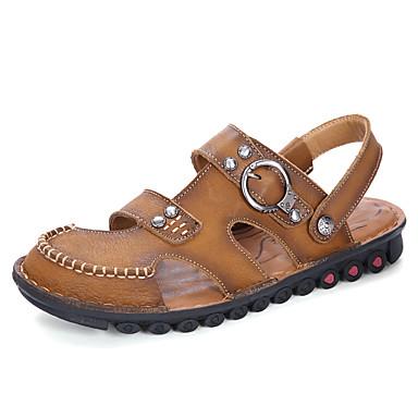 Miesten kengät Nahka Kesä Syksy Valopohjat Comfort Sandaalit varten Kausaliteetti Toimisto & ura ulko- Vaalean ruskea Khaki