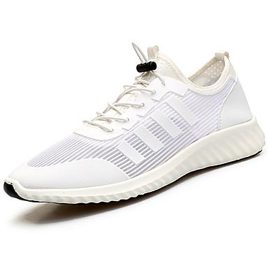Homens sapatos Couro Ecológico Primavera Outono Conforto Tênis Caminhada Cadarço para Casual Branco Preto