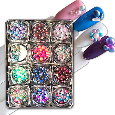 12 pcs Artificial Nail Tips Cute / Multi-shade / Candy nail art Manicure Pedicure Daily Persona Beads Collection / Fashion
