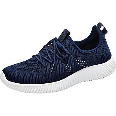 Homens sapatos Couro Ecológico Primavera Outono Solados com Luzes Conforto Tênis Corrida Cadarço para Atlético Preto Azul Marinho