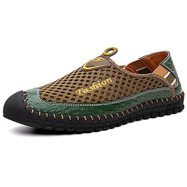 Homens sapatos Couro Ecológico Primavera Outono Conforto Mocassins e Slip-Ons para Ao ar livre Verde Azul Castanho Escuro
