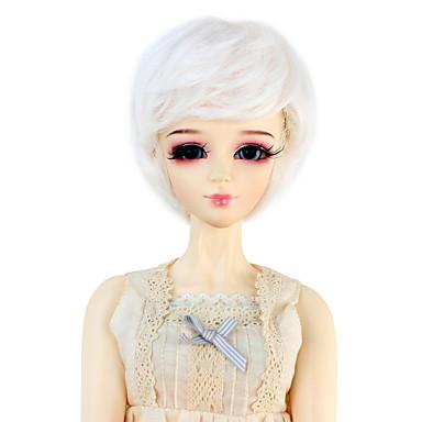 Cabelo Sintético perucas Ondulado boneca peruca Branco
