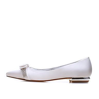 Femme Satin 06068608 Printemps Chaussures Bout Noeud pointu Talon Bleu Ivoire Eté Plat Confort Chaussures mariage Champagne Strass de UrqU5RwxT