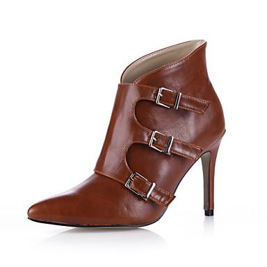 Botillons Chaussures Bottine 06011036 Botte Marron à Printemps Demi Chaussures Boucle Automne pointu Bout Polyuréthane Femme Noir Talons wqpI1Xv