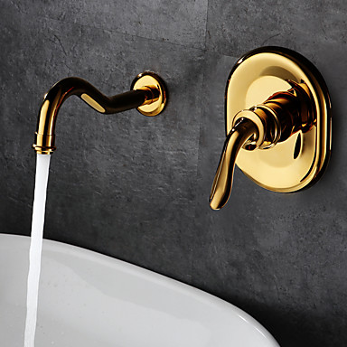 Antique Classic Wall Mounted Ceramic Valve Single Handle Two Holes Ti-PVD, Bathroom Sink Faucet