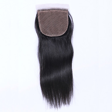 Beata Hair 4*4inch Silk Base Closure Straight Natural Color Brazilian Virgin Hair Closure 8-20inch Long 1 Piece