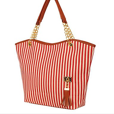 Women Bags All Seasons Canvas Shoulder Bag for Casual Outdoor Red Black-white