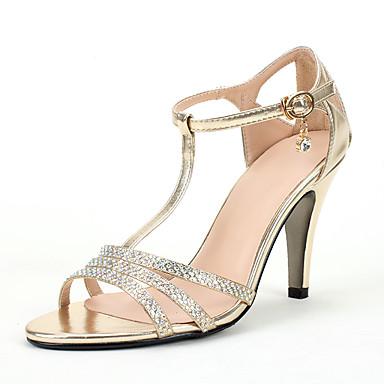 Women's Shoes Glitter PU Summer Fall Toe Ring Sandals Stiletto Heel Round Toe Rhinestone Crystal Sparkling Glitter for Wedding Dress