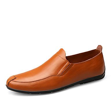 Homens sapatos Pele Verão Outono Conforto Mocassins e Slip-Ons Caminhada Combinação para Casual Preto Amarelo Claro Marron
