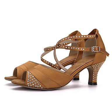 Women's Latin Silk Sandal Heel Performance Rhinestone Buckle Flared Heel Black Brown Red 1