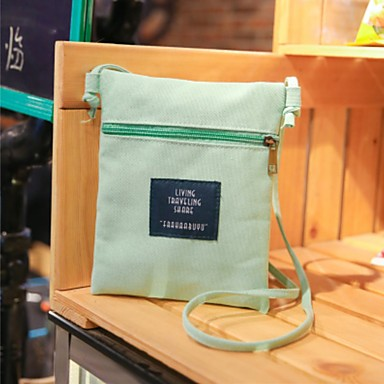 Women Bags Canvas Mobile Phone Bag for Casual All Seasons Orange Blushing Pink Yellow Dark Green Clover