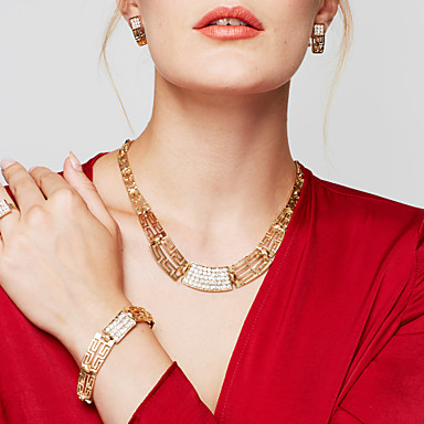 cheap Jewelry Sets-Women's Cubic Zirconia Jewelry Set - 18K Gold Plated, Gold Plated Statement, Ladies, Vintage, Party, Casual, Fashion Include Statement Necklace Earrings Bracelet Ring Golden For Wedding Party Special