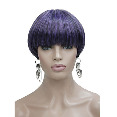Synthetic Wig Straight Bob Haircut / With Bangs Synthetic Hair Purple Wig Women's Short Capless