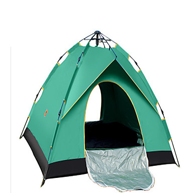 CAMEL 3-4 persons Tent Double Camping Tent One Room Automatic Tent Ventilation Quick Dry Rain-Proof Foldable for Camping / Hiking