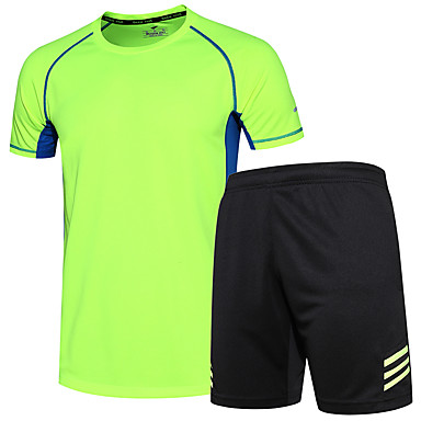 Men's Running T-Shirt with Shorts Short Sleeves Moisture Wicking Quick Dry Clothing Suits for Running/Jogging Exercise & Fitness Loose