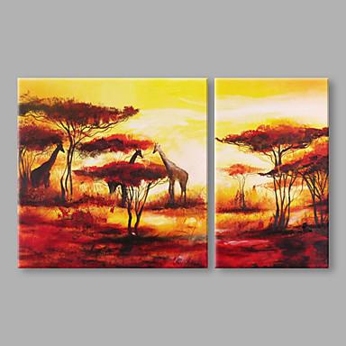 Pintados à mão Paisagem Panorâmico vertical, Artistíco Abstracto Tela de pintura Pintura a Óleo Decoração para casa 2 Painéis