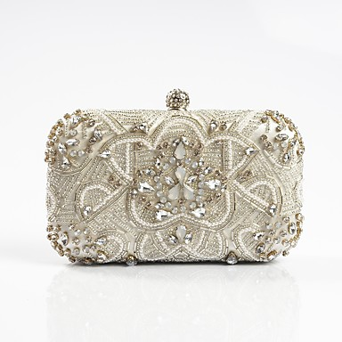 Women's Bags Polyester Evening Bag Rhinestone / Appliques / Floral Black / Silver / Wedding Bags