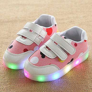 Girls' Shoes Leather Tulle Spring Summer Fall Light Up Shoes Sneakers Walking Shoes Magic Tape LED For Casual Outdoor Light Grey Blue Pink