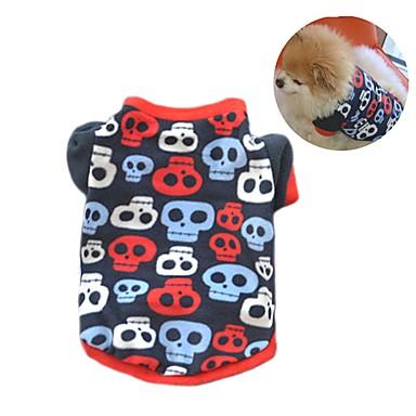 Gato Cachorro Casacos Camiseta Moletom Roupas para Cães Festa Casual Mantenha Quente Caveiras Preto Cor camuflagem Ocasiões Especiais
