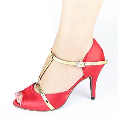 Mulheres Sapatos de Dança Latina Seda Sandália / Têni Presilha Salto Agulha Personalizável Sapatos de Dança Vermelho / Couro