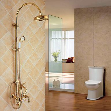 Dusjkran - Moderne / Luksus / Glamour Ti-PVD Vægmonteret Keramisk Ventil / Messing / Tre Håndtak tre hull
