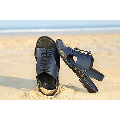 Chaussures claire 06019537 Confort minuit Bleu Brun Eté Printemps Chaussures de Cuir Unisexe Tendances Sandales HndqZH