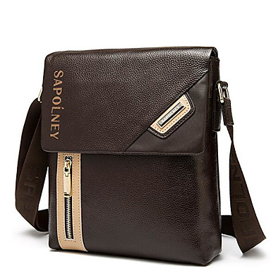 Men Bags All Seasons Cowhide Shoulder Bag with for Casual Outdoor Coffee
