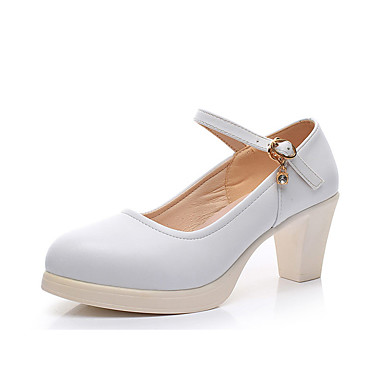 Women's Shoes Synthetic Microfiber PU Spring / Fall Formal Shoes Heels Chunky Heel Pointed Toe Rhinestone / Buckle White / Black / Wedding / Dress