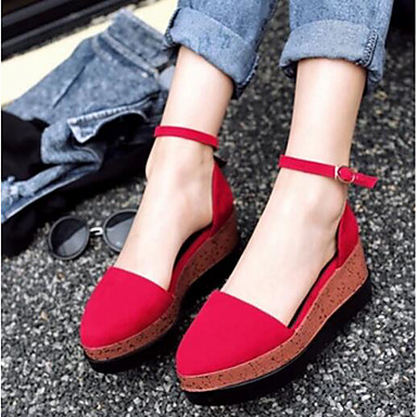 Women's Shoes Nubuck leather PU Summer Comfort Loafers & Slip-Ons for Casual Black Red Almond Orange/Black Burgundy