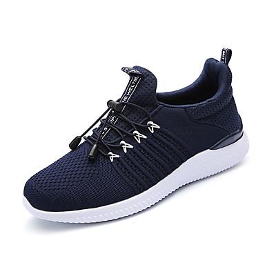 Herre sko ånd bare Blanding Vår Sommer Komfort Lette såler Treningssko Strikk Til Avslappet Svart Mørkeblå Grå
