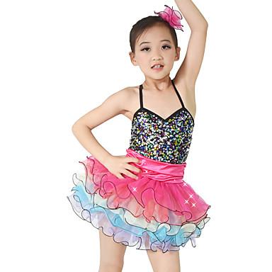 Tanzkleidung für Kinder Kleider Kinder Aufführung Elasthan Samt Stretch - Satin Gefalten Pailetten Ärmellos Normal Kleider Kopfbedeckungen