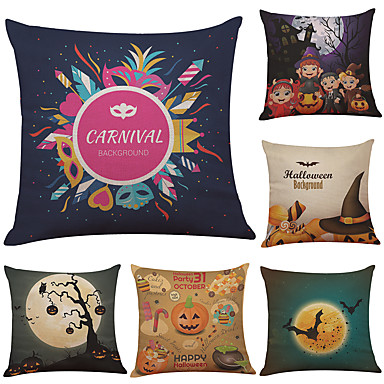 6 pcs Linen Cotton / Linen Pillow Case Pillow Cover, Textured Beach Style Bolster Traditional / Classic