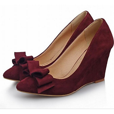 Women's Shoes Nubuck leather PU Spring Fall Comfort Heels For Casual Black Red Blue Blushing Pink