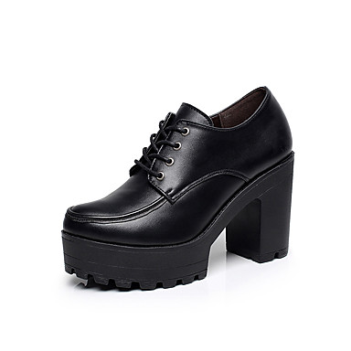 Women's Shoes Leather Spring / Fall Formal Shoes Heels Chunky Heel / Platform Round Toe Lace-up Black