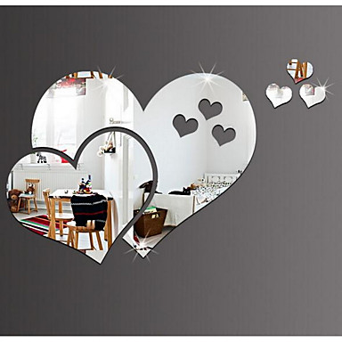 Mirrors Wall Stickers 3D Wall Stickers Mirror Decorative Wall Stickers, Plastic Vinyl Home Decoration Wall Decal Wall