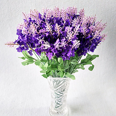 10 Branch Polyester Real touch Others Lavender Tabletop Flower Artificial Flowers
