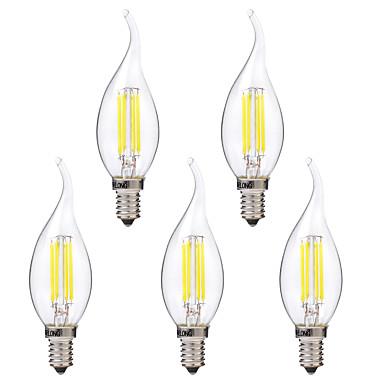Brelong 5 pcs 4 w e14 levou dimmable vela lâmpada c35 dc12v branco / branco quente