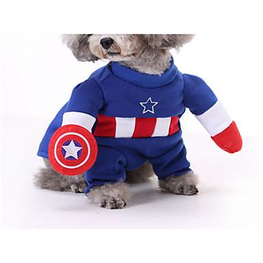 Kat Hund Kostume Hundeklær Cosplay Tegneserie Gul Rød Blå Kostume For kjæledyr
