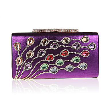 Women's Bags Polyester Evening Bag Rhinestone Beading for Event/Party All Seasons Black Silver Red Purple Fuchsia