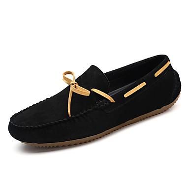 Herre sko Griseskinn Vinter Høst Mokkasin Komfort Båtsko til Avslappet Svart Grå Mørkebrun Kakifarget