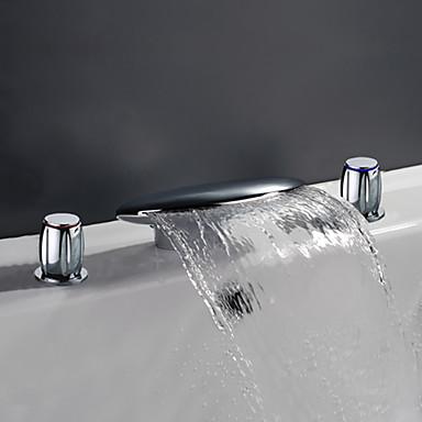 Moderno/Contemporâneo Difundido Cascata Vãlvula Latão Duas alças de três furos Cromado, Torneira pia do banheiro