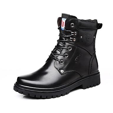 Herre sko Lær Nappa Lær Vinter Motorsykkelstøvler Trendy støvler Snøstøvler Støvler Støvletter Snøring til Avslappet Kontor og karriere