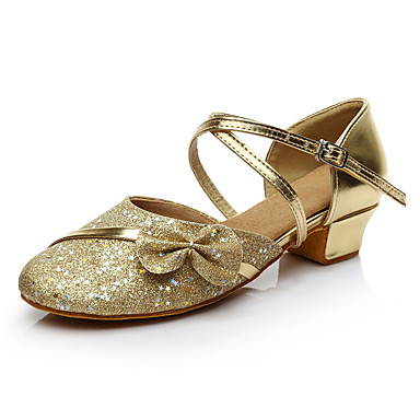 Women's Latin Paillette Sneakers Performance Bow Paillettes Low Heel Gold Customizable