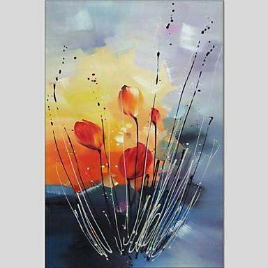 Hang-Painted öljymaalaus Maalattu - Kukkakuvio/Kasvitiede Abstrakti Kangas