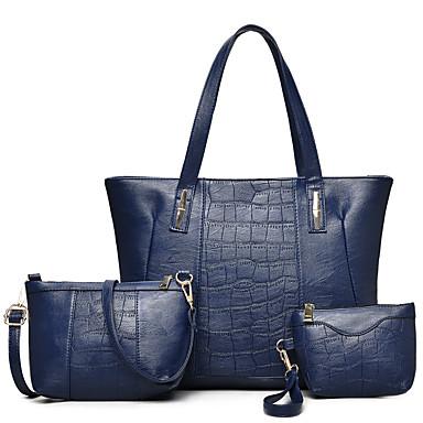 Women's Bags PU Bag Set Zipper Black / Red / Gray
