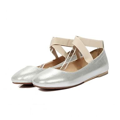 Mulheres Sapatos Sintético Primavera / Outono Conforto / Inovador Rasos Caminhada Sem Salto Ponta quadrada Elástico Preto / Prata / Rosa