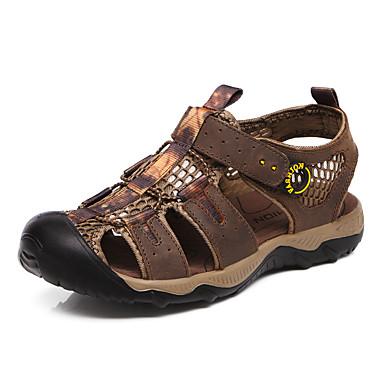 Herre sko Lær Vår Sommer Komfort Slingback Sko Gladiator Lette såler Sandaler Magisk teip Til Avslappet Lysebrun Mørkebrun
