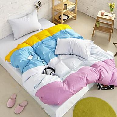 Color Block 4 Piece Cotton Cotton 1pc Duvet Cover 2pcs Shams 1pc Flat Sheet