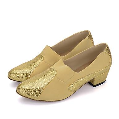 Mulheres Sapatos de Dança Moderna Tricô / Gliter Salto Lantejoula Salto Cubano Sapatos de Dança Preto / Vermelho / Branco / Prata